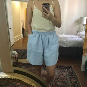 American Vintage Shorts - Oversized Pinstriped high rise shorts